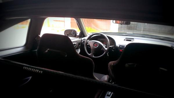 2000 EDM Honda Integra Type-R interior from pillar bar
