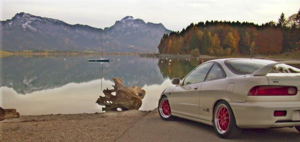 1998 championship white EDM Integra Type-R at the lake