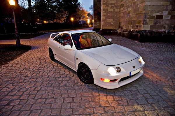 Championship White Euro Integra Type-R at night