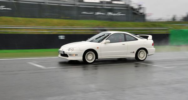 Honda Integra Type-R at the racetrack in the rain