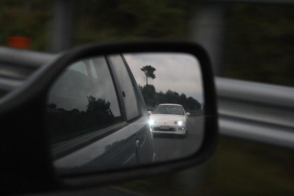EDM Integra Type-r in the rear view mirror