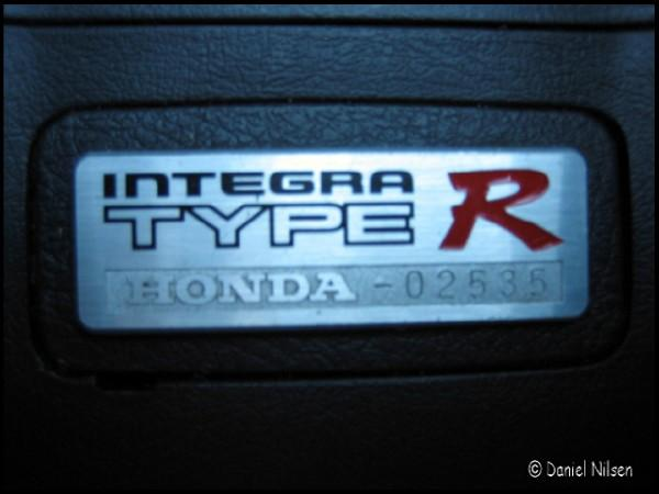 EDM Integra Type R interior console badge