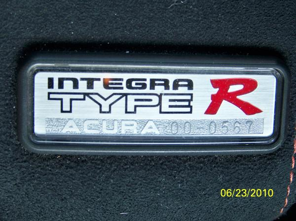 Acura Integra Type-R Badge Number 00-0567