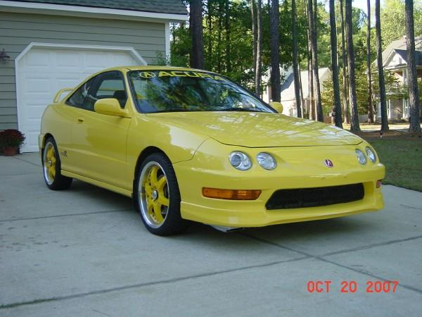 2000 Acura Integra Type-r phoenix yellow with aftermarket rims