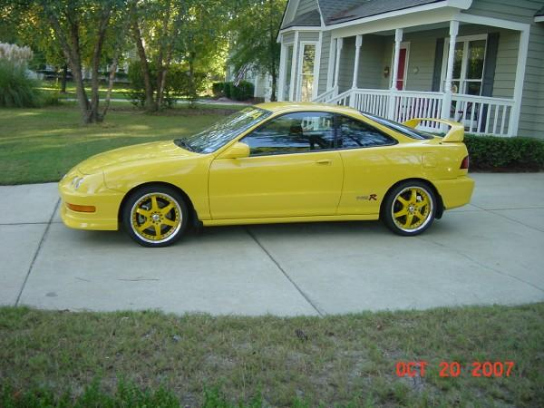 2000 Acura Integra Type-r phoenix yellow profile with aftermarket rims