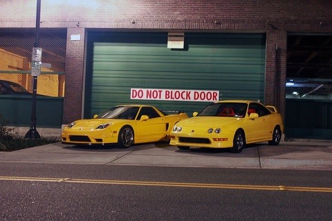 Phoenix Yellow 2000 Integra Type-R with yellow NSX