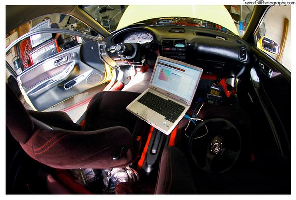 2000 Acura Integra Type-r interior with Hondata on a laptop