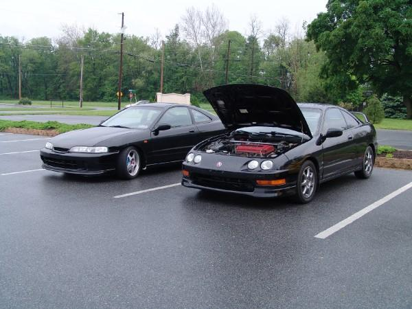 one jdm front end itr and one type-r with hood popped