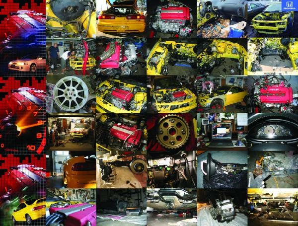 collage of rebuilt integra type r