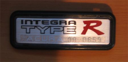 USDM 2000 Acura Integra Type-r badge number