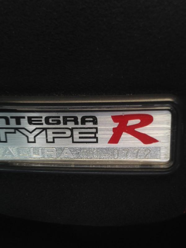 2000 Canadian Integra Type-R interior badge