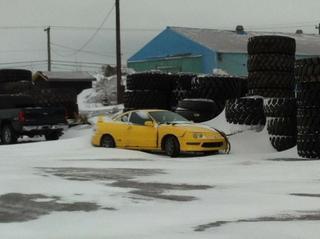 Phoenix Yellow 2000 Acura Integra Type-r in the snow