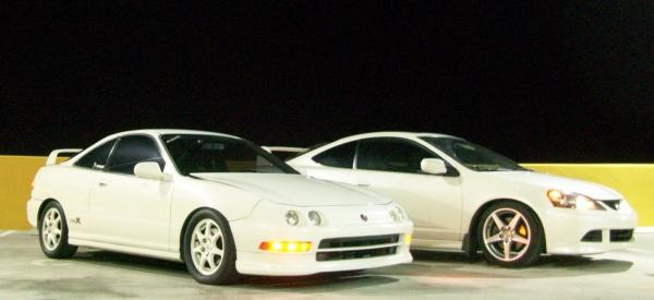 championship white 1997 Acura Integra Type-R with white Acura RSX