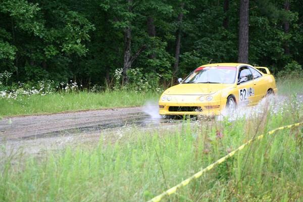 Phoenix Yellow 2000 Acura Integra Type-r wet rally race