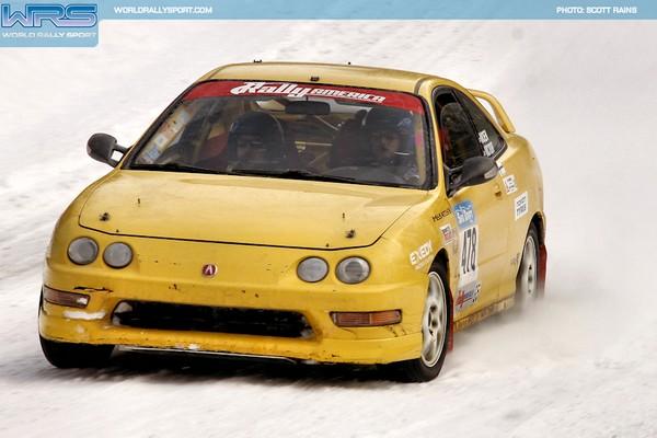 Phoenix Yellow 2000 Acura Integra Type-r racing in snow