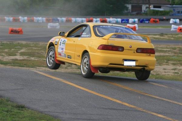 Phoenix Yellow 2000 Acura Integra Type-r jumping