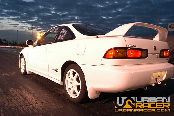 1997 Integra Type-R championship white at the drag strip