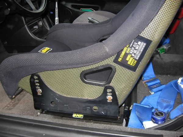 Black Acura Integra Type-r with OMP Kevlar seat