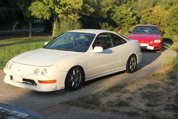 championship white 1997 Acura Integra Type-R in the driveway