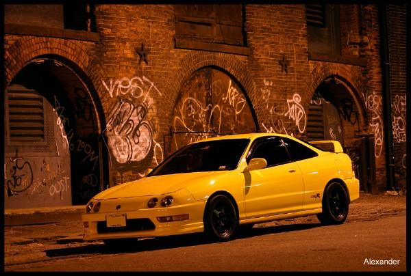 2001 Phoenix Yellow Integra Type R in the city