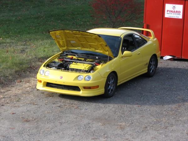 Phoenix Yellow 2001 Acura Integra type-r with hood popped