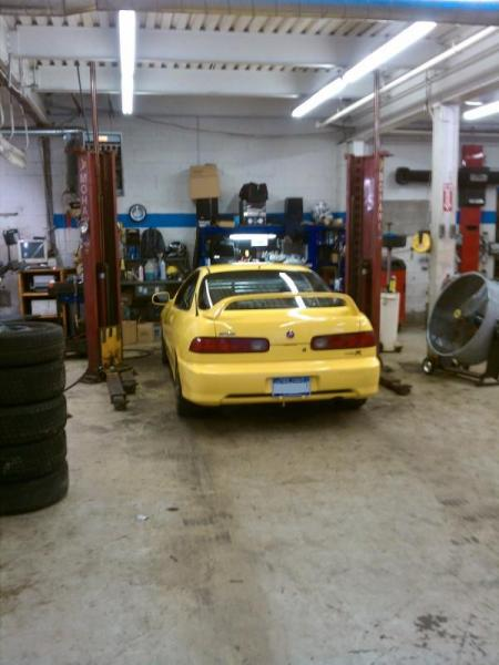 2001 Acura ITR in the shop on lift