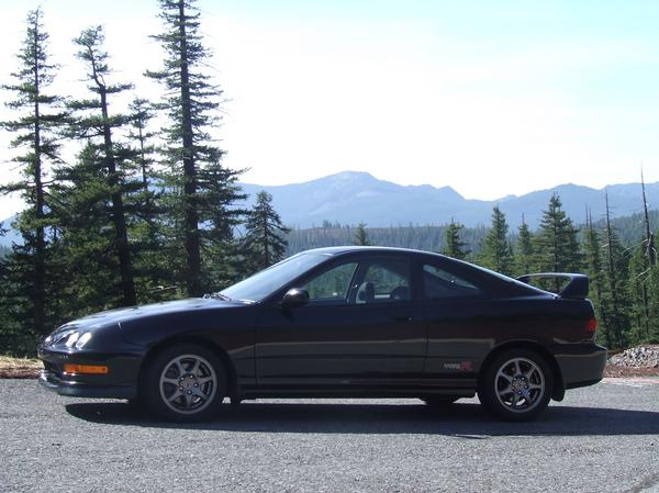 OEM integra typeR at a scenic viewpoint in the mountains