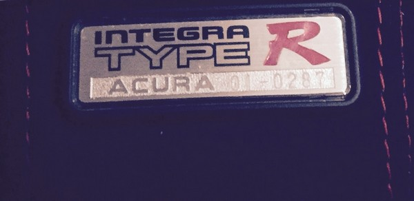 2001 Acura Integra Type-R badge number 01-0287