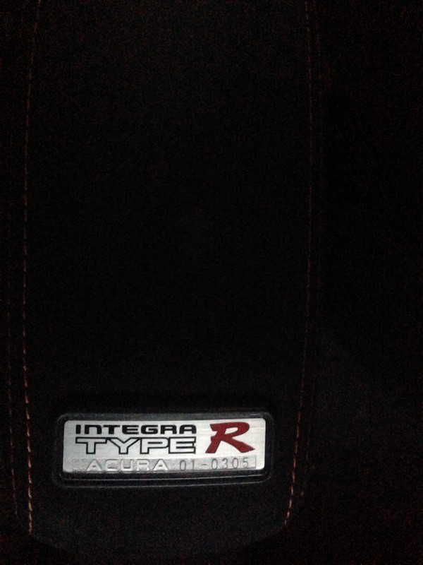 2001 Integra Type R interior armrest badge number