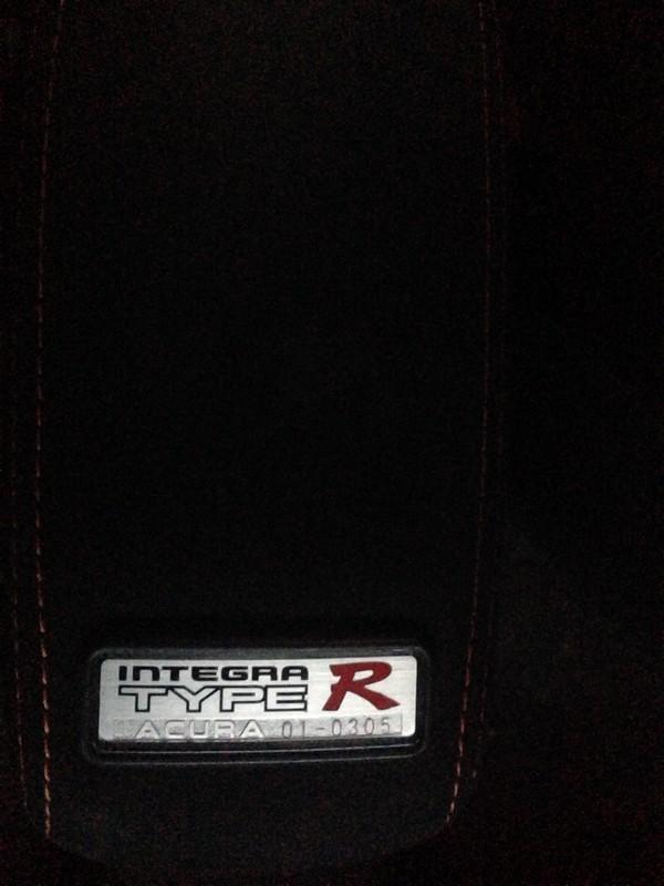 2001 Integra Type R interior armrest badge number