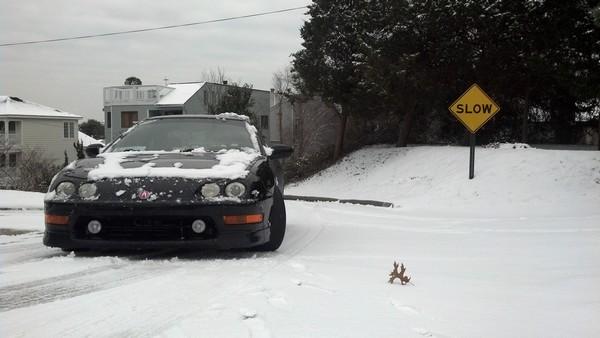 2001 Nighthawk Black Pearl Integra Type-R in the snow