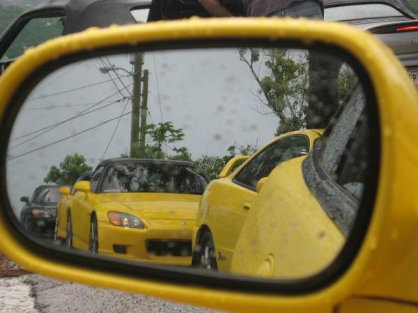 Phoenix Yellow Integra Type-R's in the rain in Puerto Rico