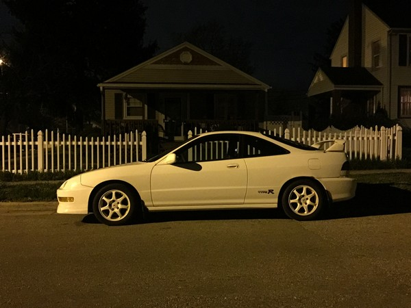 1998 Championship white Acura Integra Type-R at night