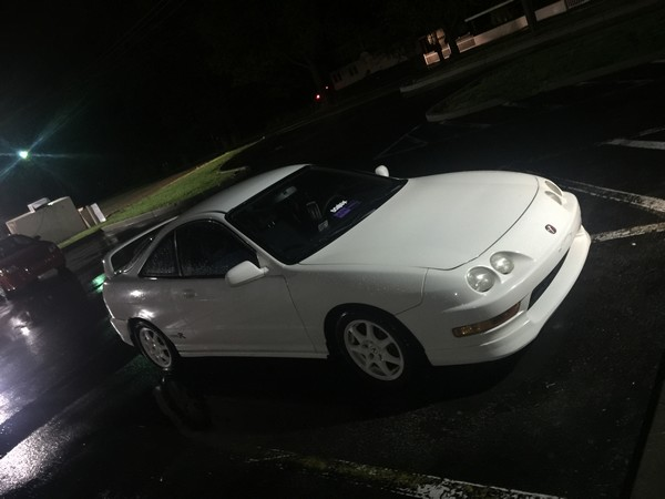 1998 Champ white Acura Integra Type-R night time