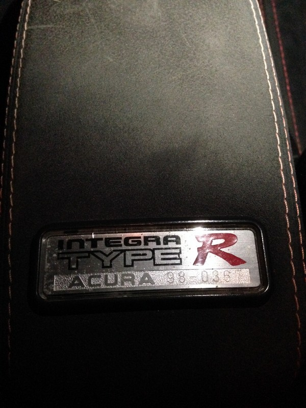 1998 Acura Integra Type-r badge on armrest