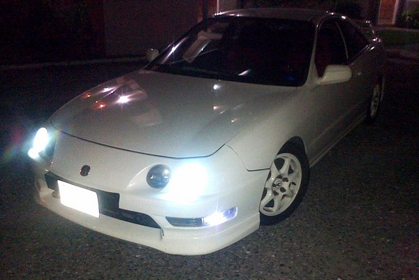 Championship White Integra Type-R at night