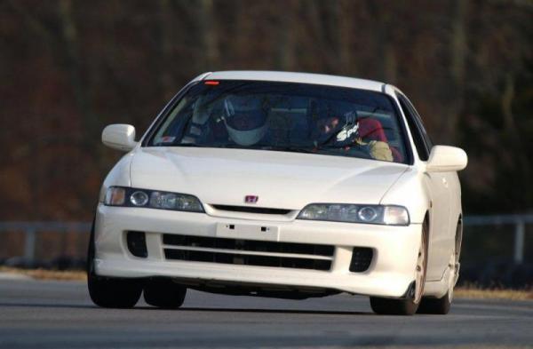 1998 championship white Acura Integra Type tracking/racing