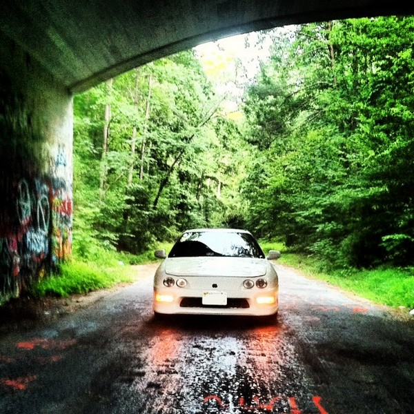 98 Integra type-r under a bridge